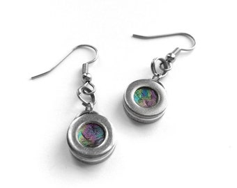 Iridescent Earrings, Silver Dangle, Simple Round, Stainless Steel Jewelry, Multicolor, Metal, Punk Style, Customizable Color