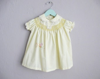 Smocked Dress Baby Girl 1960s Vintage Yellow Peter Pan Collar Dress