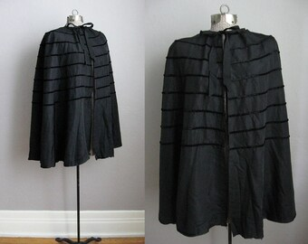 1930s Vintage Cape Black Rayon Velvet Stripe 30s Black Cape Fall Wrap / OS