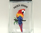 Parrot, Bird Seed Jar, Custom Canister, Handpainted Container, Tropical Bird Art, Snack Holder, Aviary, Kitchen Decor, Pet Food Storage