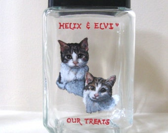 Kittens, Cat Canister, Handpainted Jar, Pet Treat Holder, Cat Art, Kitten Painting, Snack Jar, Painted Pet, Custom Canister, Cat Art