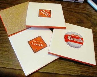 Orange Crush Soda White Coaster Set of 4 with Cork Backing
