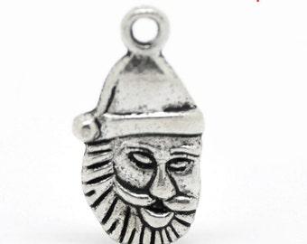 5 pieces Antique Silver Santa Claus Charms