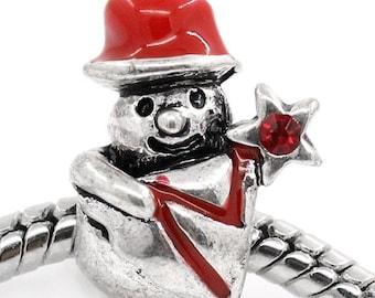 2 pieces Antique Silver Snowman Red Rhinestone European Charm Beads