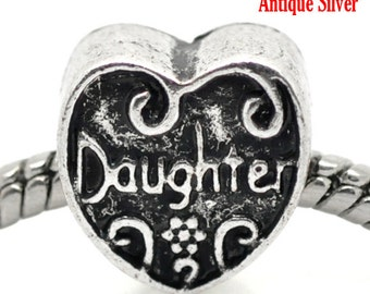 """2 Pieces Antique Silver """"Daughter"""" Heart European Charm Beads"""