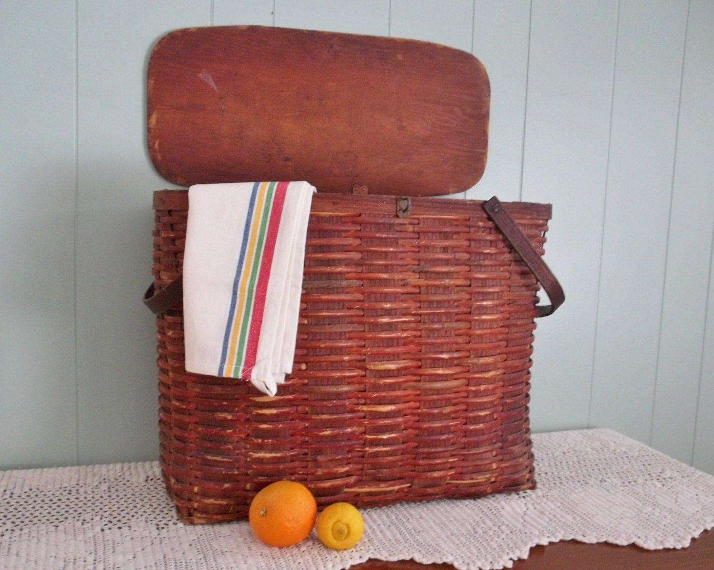 Antique Wicker Hamper Picnic Vintage Laundry Basket Wooden