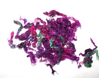 Shiny Luxury Kid Mohair Locks Hand Dyed Multicolor Spinning Felting Fiber 17 gm