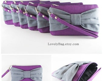 SUPER SALE - Set of 10 Eggplant Purple with Gray Bow Clutches - Bridal Clutch, Bridesmaid Clutch,Bridesmaid Bag,Wedding Gift - Made To Order
