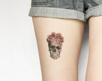 Temporary Tattoo Halloween - skull - skeleton - floral