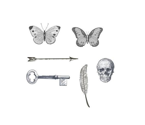 Tattoo Ideas Vintage: Tiny Tattoos Vintage Designs Arrow Key Feather Skull