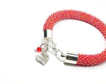 Beaded Bracelet. Raspberry  Bracelet. Bead Crochet. Fashionable Handmade Bracelet. Oriental Bracelet. Red Bracelet.