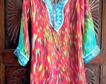 SALE: Short Kaftan top embroidered summer kurti beach coverup