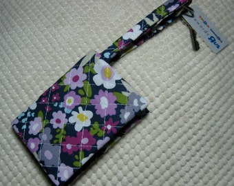 quilted fabric wallet/gift card holder/credit card organizer/business card case:  purple flowers in the garden