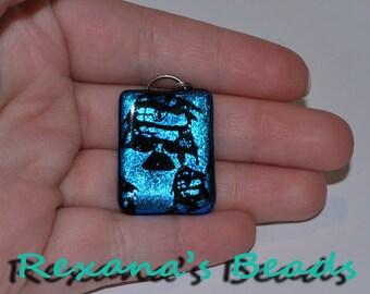 Dichroic Glass Black & Blue Rectangle Pendant