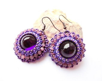 Beadwork Amethyst Acrylic Earrings Bead Embroidered Jewelry Purple Cat's Eye Beads Embroidery Round earrings OOAK Jewelry Ready to ship