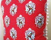 Red Retro Deer Cushion Cover 18in