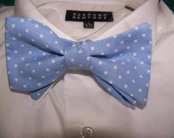 Bow Tie Bowtie blue, Blue polka dots, dots, Office,  Cotton Men's Bow Tie -  Free Style Adjustable  - clip on - pretied