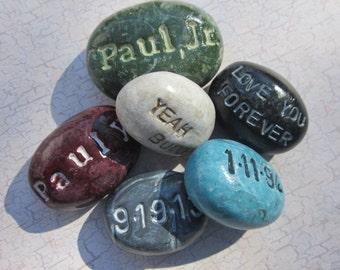 Memorial Handpainted Monogram Keepsake Pocket or Bowl Pet Cremains Stone- Custom Handmolded Pottery Cremation Rock