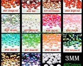 3MM Bling Crystal Rhinestone Flatback resin Jewelry accessories material supplies (3000pcs/bag)--C