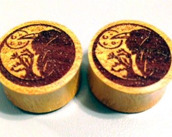 """Custom Handmade Organic """"The Night Knows"""" Designed Wood Plugs - You choose wood type/color and size 7/16"""" - 30mm"""