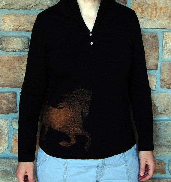 SALE Running Friesian Horse Women's Black Hoodie T - Size M