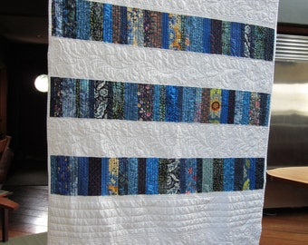 Blue & White Striped Quilt 35 x 54