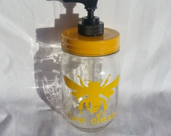 BEE CLEAN Mason Jar Dispenser Mason Jar Hand Soap Dispenser Lotion or Hand Sanitizer Yellow Dispenser 16oz
