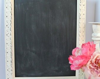 Shabby Chic Antique Style Ivory painted Distressed Framed Chalkboard  Kitchen Decor Chalkboard Memo Board Wedding Chalkboard  16x12