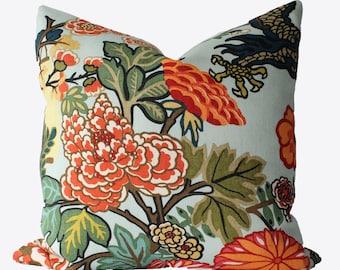 Decorative Designer Chiang Mai Schumacher Aquamarine, 18x18, 20x20, 22x22 or Lumbar Throw Pillows