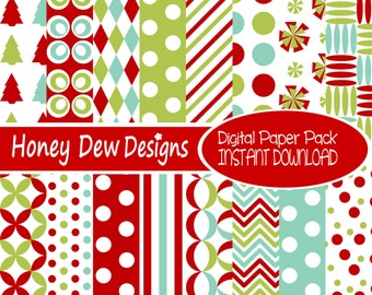 Instant Download - Digital Paper Pack 242 - Christmas Paper