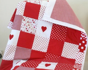 Baby Girl Patchwork Quilt Red Nursery Bedding Baby Girl