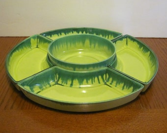 Vintage Lime Green Chip and Dip Relish Server Drip Glaze