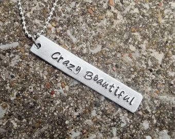 Crazy Beautiful Aluminum Stamped Metal Necklace