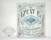 8x10 art print - Great Is Thy Faithfulness - Blue, Aged Typography Poster Print - Christian Hymn, Folk art inspired