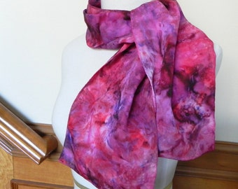 Long Jacquard Silk Scarf Hand Dyed in Shades of Red and Purple, Ready to Ship