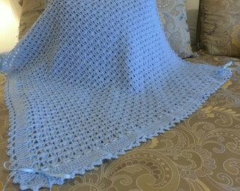 Crochet baby boy blue blanket w/ribbon
