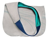 turquoise LINES - shoulder hobo bag, colorful lining + colorful embroidered lines