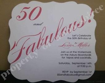 INVITATION Flourish Square Shape:  Save the Date, Engagement, All Occasion, Wedding Invitation, Birthday Invitation, Shower Invitation