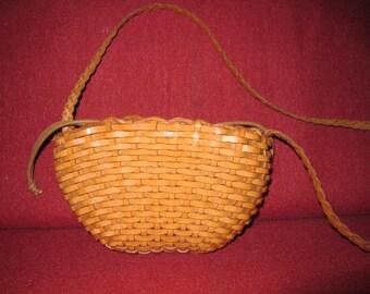 Vintage Leather Weave Shoulder Bag