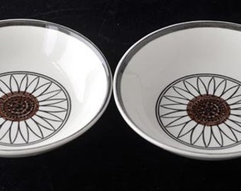 Two Casa Del Sol Royal China USA Coupe Cereal  Bowls with Big Brown Sunflowers Vintage 1970s RETRO CUTE