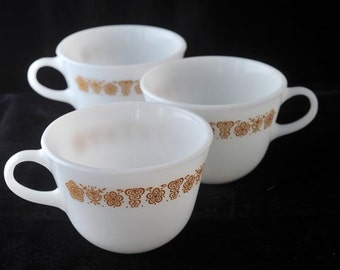 Pyrex Corning Butterfly Gold Coffee Cups Set of 3 Vintage 1960s