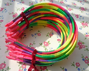 Good quality--Rainbow Satin Covered Headband 5mm Wide--10pcs