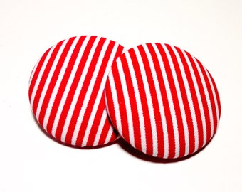 Oversized Red Pin Stripe Print Button Earrings