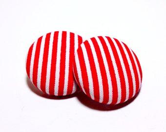 Medium Red Pin Stripe Print Button Earrings