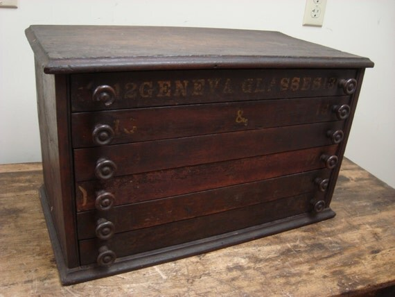 Antique 6 Drawer Geneva Glasses Watchmakers Wood File Spice