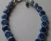 Blue Ceramic Bead Bracelet w/ Heart Charm