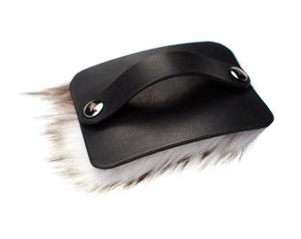 Petting Brush - Fur Pad - Hand of Praise - Black Leather Petting Brush - Faux Fur - Creme - Nickel Fasteners