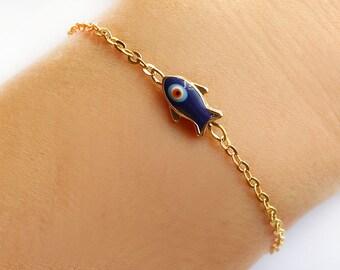 Fish bracelet, evil eye bracelet, blue fish evil eye, evil eye jewelry, fish jewelry, best friend birthday, gifts for women, turkish jewelry