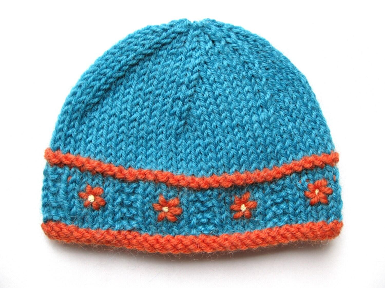 Knit preemie beanie pattern hat pdf flower prem girl baby teal