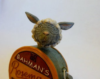 LAMB ~ Lamb Figurine ~ Baby Lamb ~  Kitchen Chic Decor ~ Rosemary ~  SHEEP ~ Animal Art